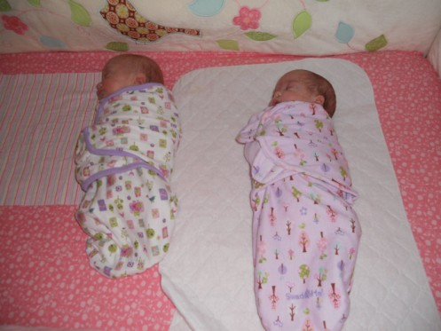 Swaddling always helped, but the SwaddleMe's are definitely a nice shortcut. Even Chris could do it!