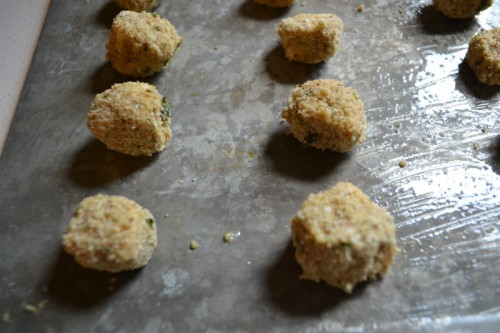 Mozzarella Bites on Cookie Sheet