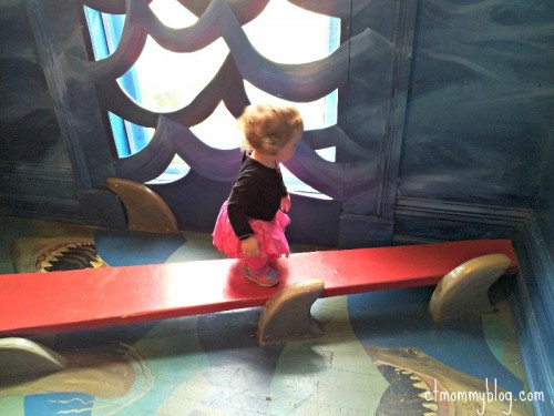 Juliette walking the plank on the Pirate Ship.