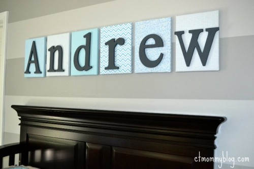 nursery name above crib