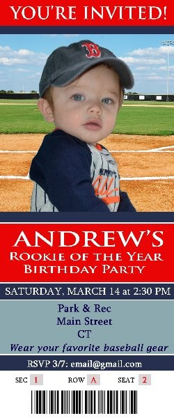 Rookie of the Year Baseball Invitation